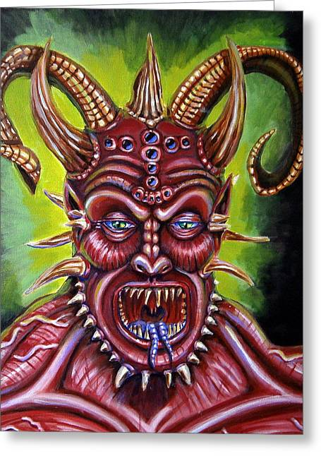 Demon Greeting Card by Chris Benice