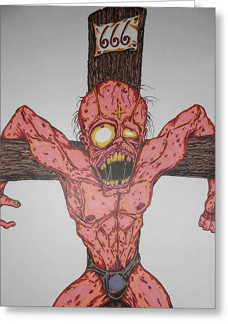 Demon Crucifix Greeting Card