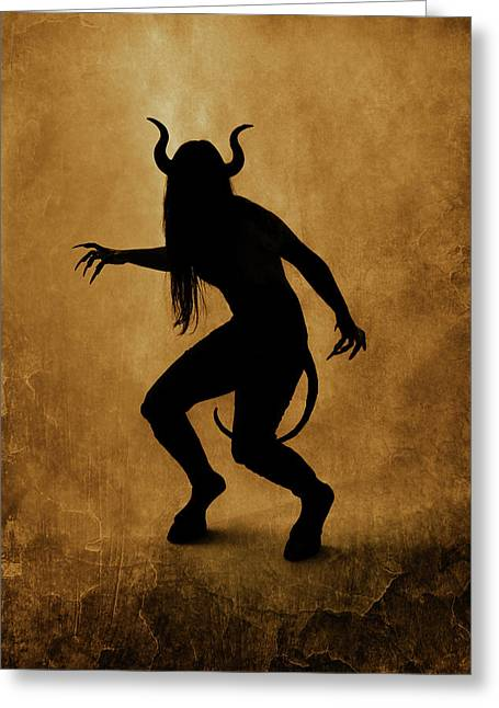 Demon Silhouette Greeting Card by Cambion Art