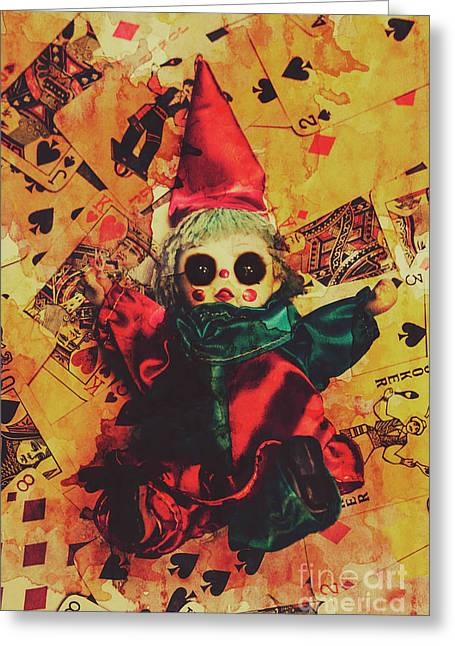 Demonic Possessed Joker Doll Greeting Card by Jorgo Photography - Wall Art Gallery