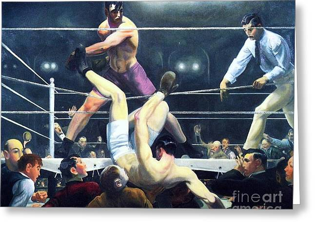Dempsey Greeting Cards - Dempsey and Firpo Greeting Card by Pg Reproductions