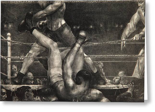 Dempsey Through The Ropes Greeting Card by George Wesley Bellows