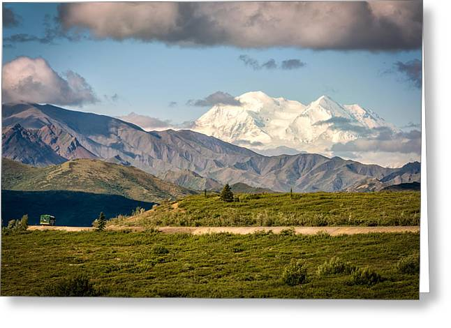 Greeting Card featuring the photograph Denali Appears by Claudia Abbott