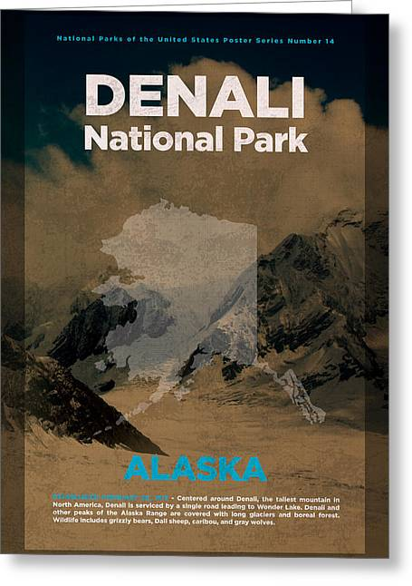 Denali National Park In Alaska Travel Poster Series Of National Parks Number 14 Greeting Card by Design Turnpike
