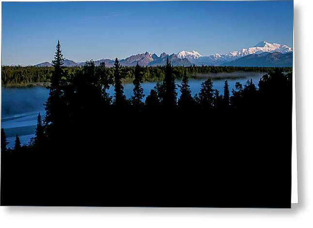 Denali Over The Susitna River Greeting Card