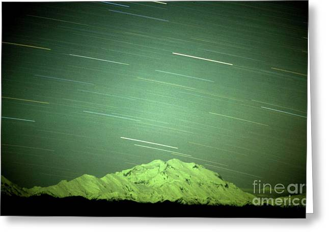 Denali Star Trails And Aurora Greeting Card