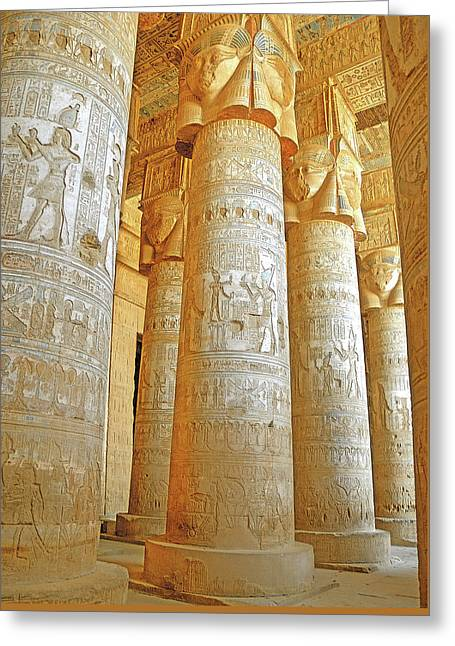Dendera Temple Greeting Card by Nigel Fletcher-Jones