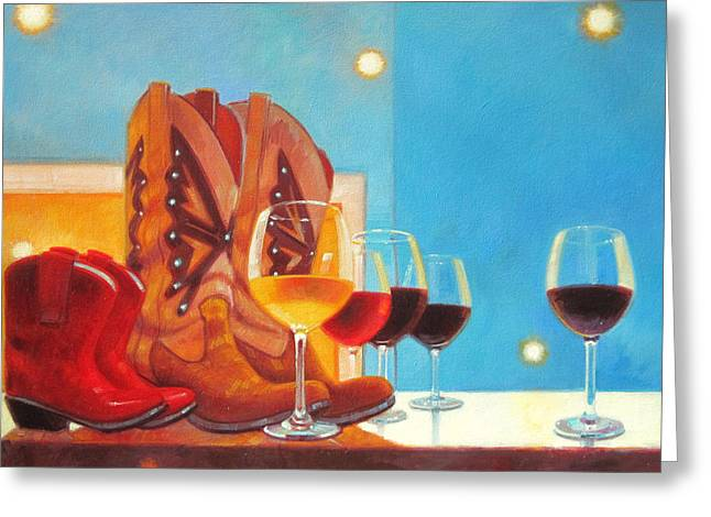 Wine Woman Greeting Cards - Denim and Diamonds Greeting Card by Penelope Moore