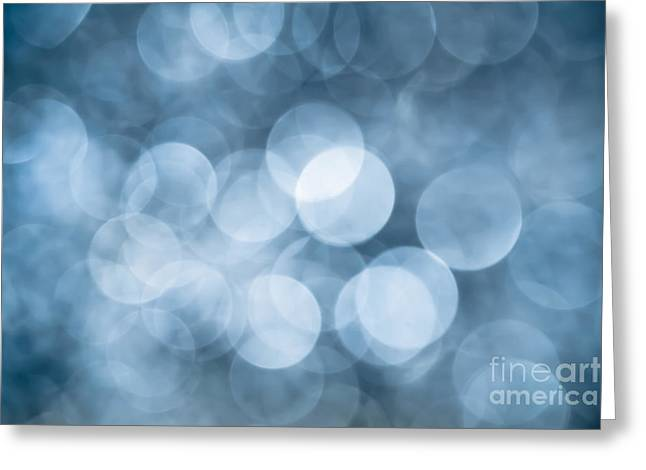Greeting Card featuring the photograph Denim Blue Bokeh by Jan Bickerton