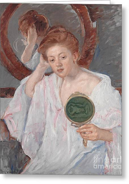Denise At Her Dressing Table Greeting Card by Mary Stevenson Cassatt