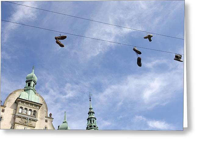 Denmark, Copenhagen, Amager Torv, Shoes Greeting Card by Sisse Brimberg & Cotton Coulson