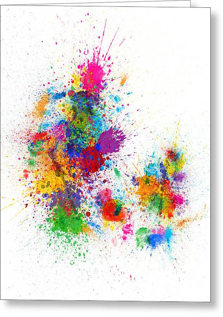 Denmark Map Paint Splashes Greeting Card