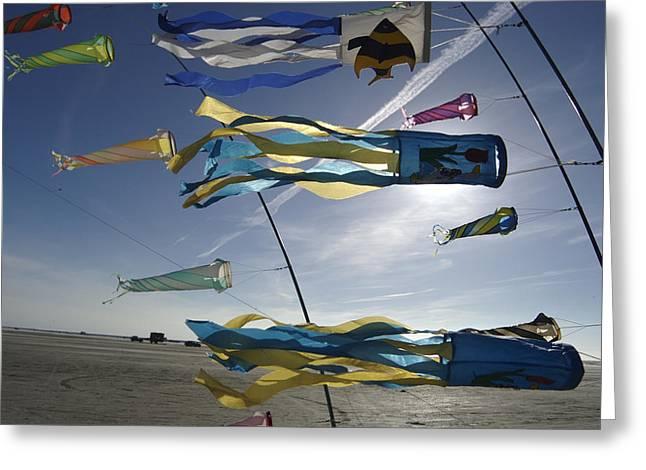 Denmark, Romo, Kites Flying At Beach Greeting Card