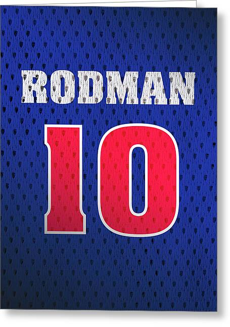 Dennis Rodman Detroit Pistons Number 10 Retro Vintage Jersey Closeup Graphic Design Greeting Card by Design Turnpike