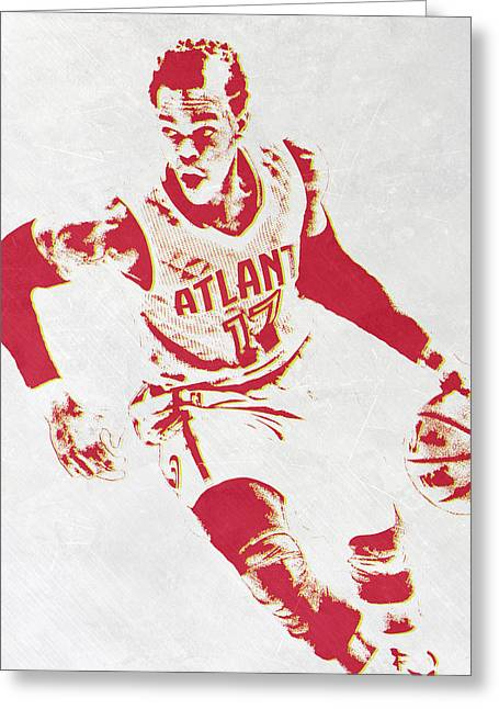 Dennis Schroder Atlanta Hawks Pixel Art Greeting Card by Joe Hamilton