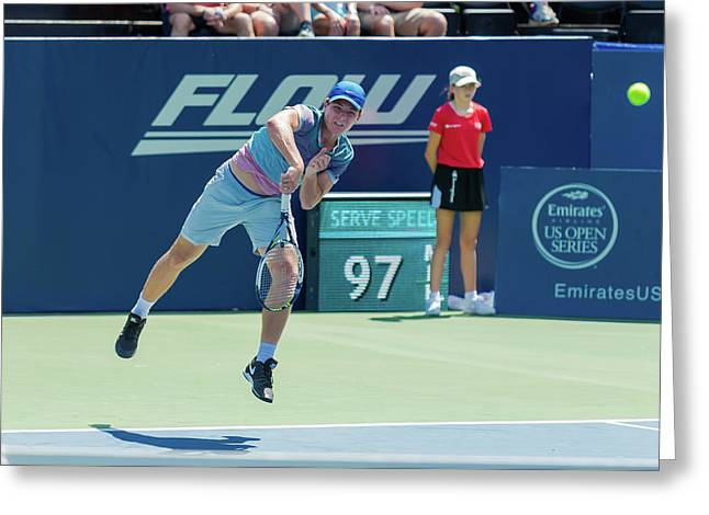 Dennis Uspensky Plays Center Court At The Winston-salem Open Greeting Card by Bryan Pollard