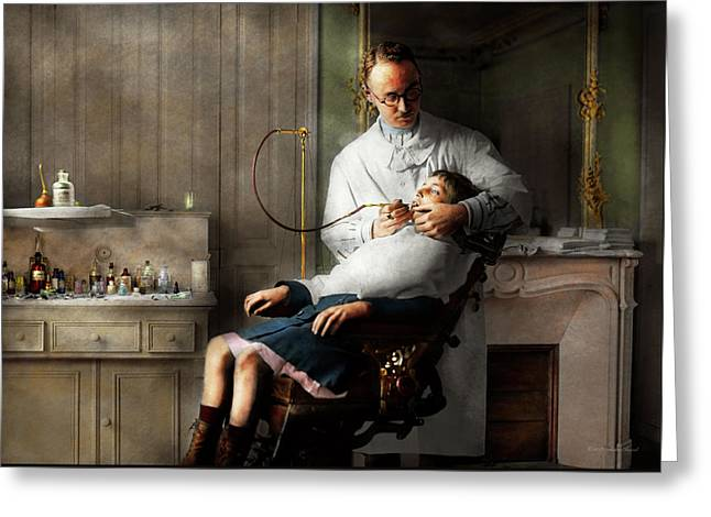 Greeting Card featuring the photograph Dentist - Good Oral Hygiene 1918  by Mike Savad