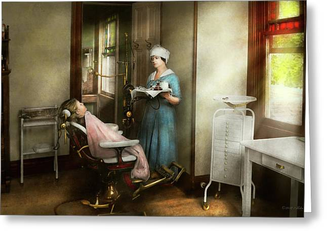 Greeting Card featuring the photograph Dentist - Patients Is A Virtue 1920 by Mike Savad