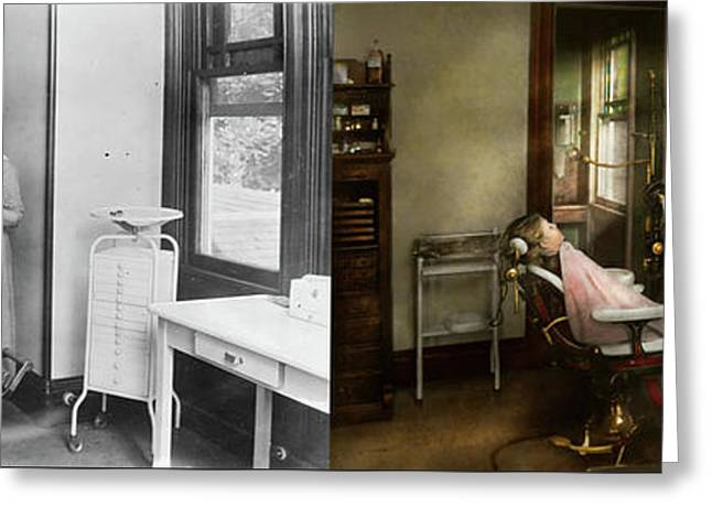 Greeting Card featuring the photograph Dentist - Patients Is A Virtue 1920 - Side By Side by Mike Savad