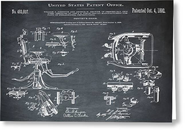 Dentists Chair Patent 1892 In Chalk Greeting Card
