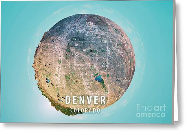 Denver 3d Little Planet 360-degree Sphere Panorama Greeting Card by Frank Ramspott