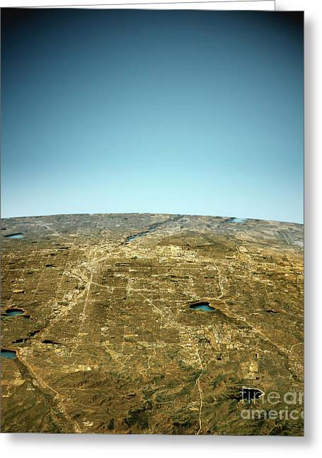 Denver 3d View South-north Natural Color Greeting Card by Frank Ramspott