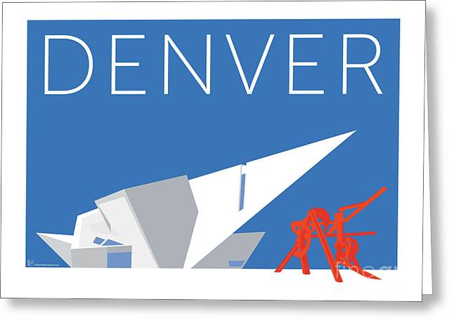 Greeting Card featuring the digital art Denver Art Museum/blue by Sam Brennan