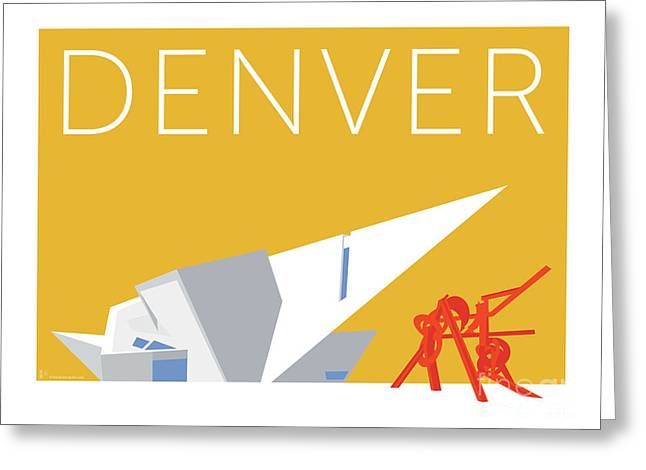 Greeting Card featuring the digital art Denver Art Museum/gold by Sam Brennan