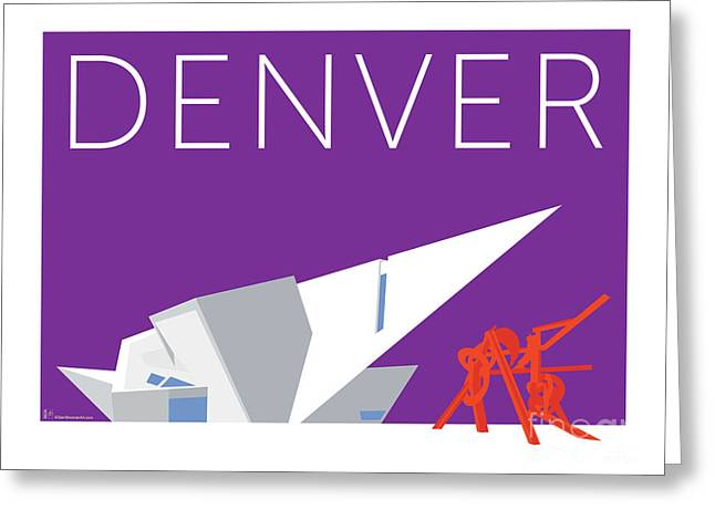 Greeting Card featuring the digital art Denver Art Museum/purple by Sam Brennan