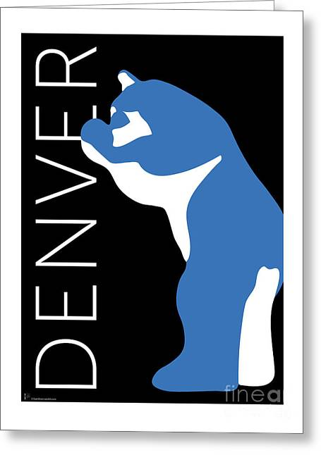 Greeting Card featuring the digital art Denver Blue Bear/black by Sam Brennan