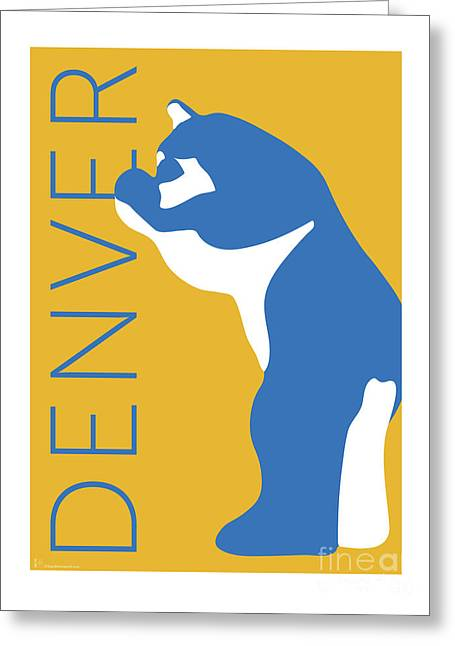 Greeting Card featuring the digital art Denver Blue Bear/gold by Sam Brennan