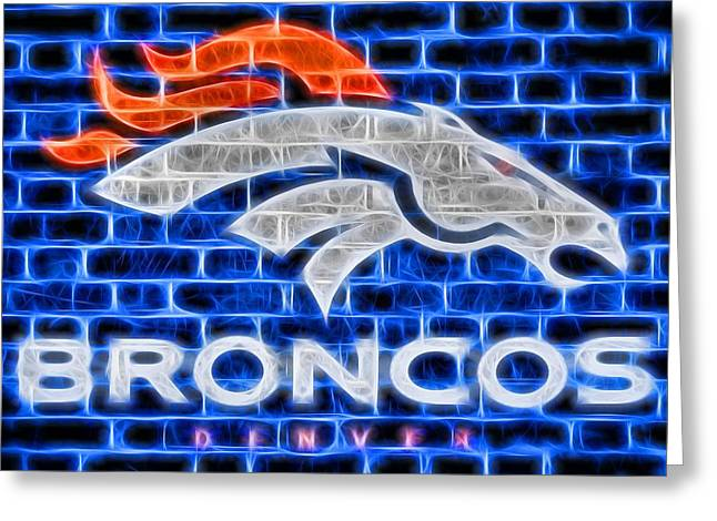 Denver Broncos Electric Sign Greeting Card by Dan Sproul