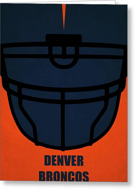 Denver Broncos Helmet Art Greeting Card by Joe Hamilton