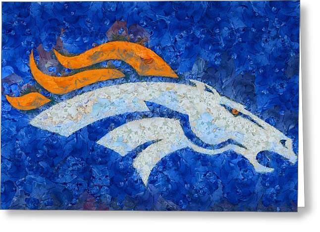Denver Broncos Painted Logo Greeting Card