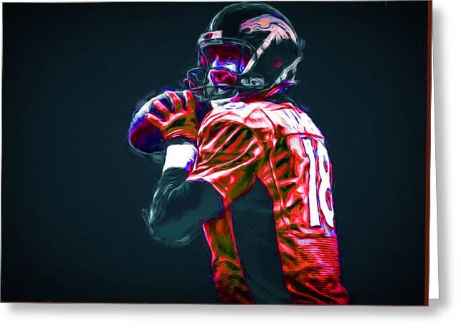 Denver Broncos Peyton Manning Digitally Painted Greeting Card