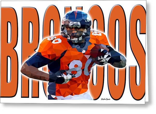 Greeting Card featuring the digital art Denver Broncos by Stephen Younts