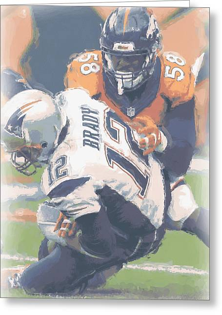 Denver Broncos Von Miller 2 Greeting Card by Joe Hamilton