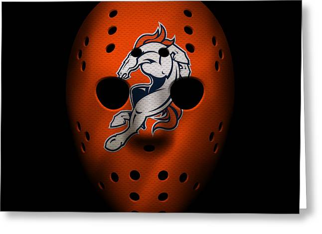 Denver Broncos War Mask 2 Greeting Card by Joe Hamilton