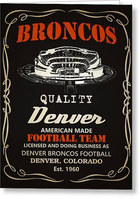 Denver Broncos Whiskey 2 Greeting Card by Joe Hamilton