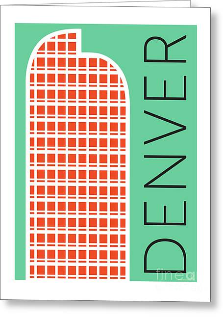 Greeting Card featuring the digital art Denver Cash Register Bldg/aqua by Sam Brennan
