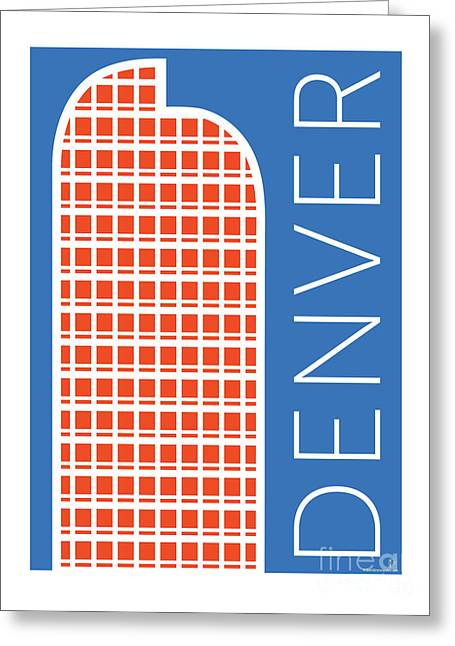 Greeting Card featuring the digital art Denver Cash Register Bldg/blue by Sam Brennan