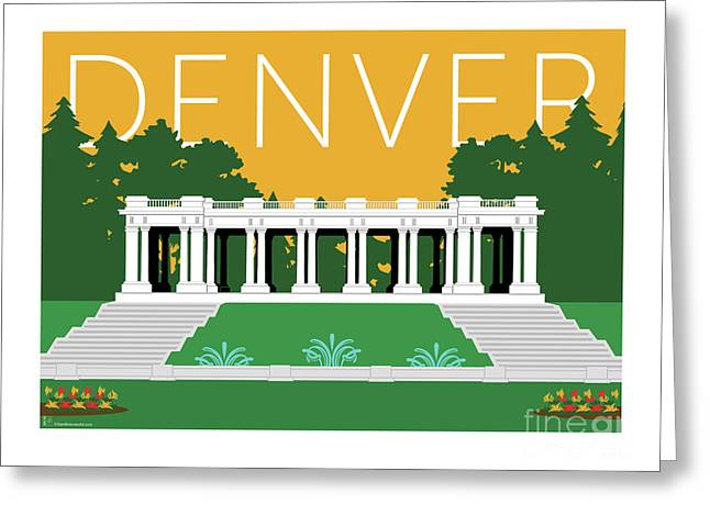 Greeting Card featuring the digital art Denver Cheesman Park/gold by Sam Brennan