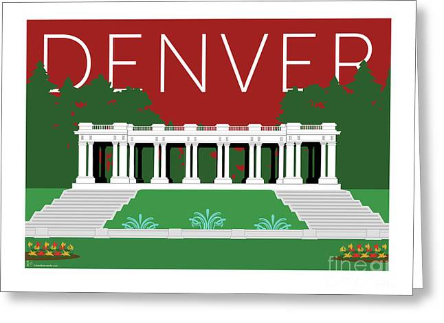 Greeting Card featuring the digital art Denver Cheesman Park/maroon by Sam Brennan