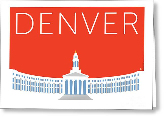 Greeting Card featuring the digital art Denver City And County Bldg/orange by Sam Brennan