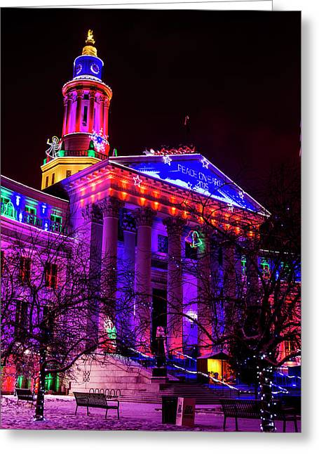 Denver City And County Building Happy Holidays Greeting Card by Teri Virbickis