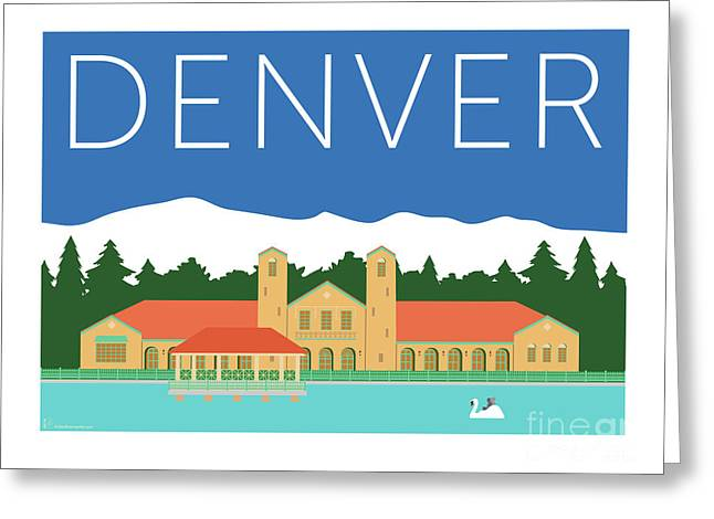 Greeting Card featuring the digital art Denver City Park/blue by Sam Brennan