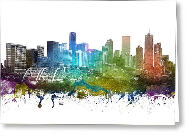 Denver Cityscape 01 Greeting Card by Aged Pixel