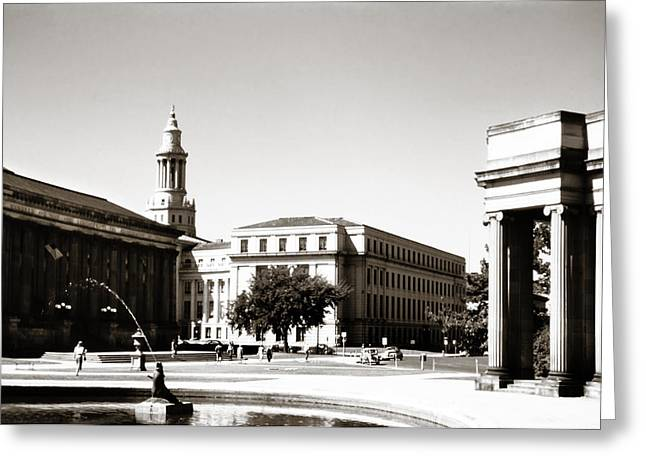 Denver Civic Center 1950s Sepia Greeting Card by Marilyn Hunt