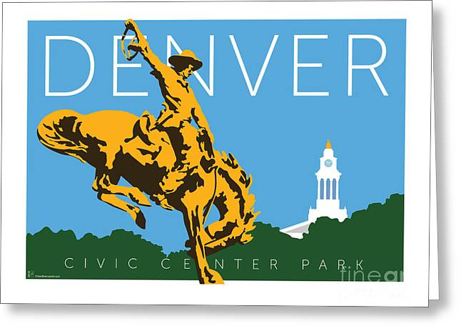 Greeting Card featuring the digital art Denver Civic Center Park by Sam Brennan