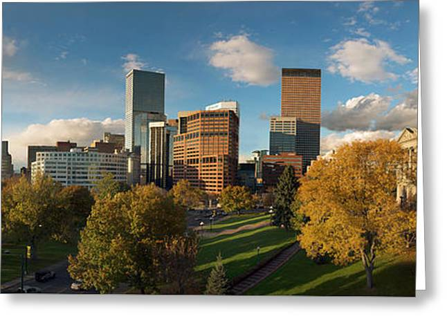Denver, Colorado, Capitol Skyline Panoramic Greeting Card by Steve Mohlenkamp
